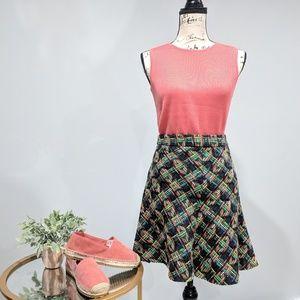 Zara Multicolored Tweed Midi Skirt Waist Size 28